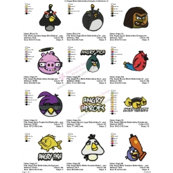 12 Angry Birds Embroidery Designs Collections 12