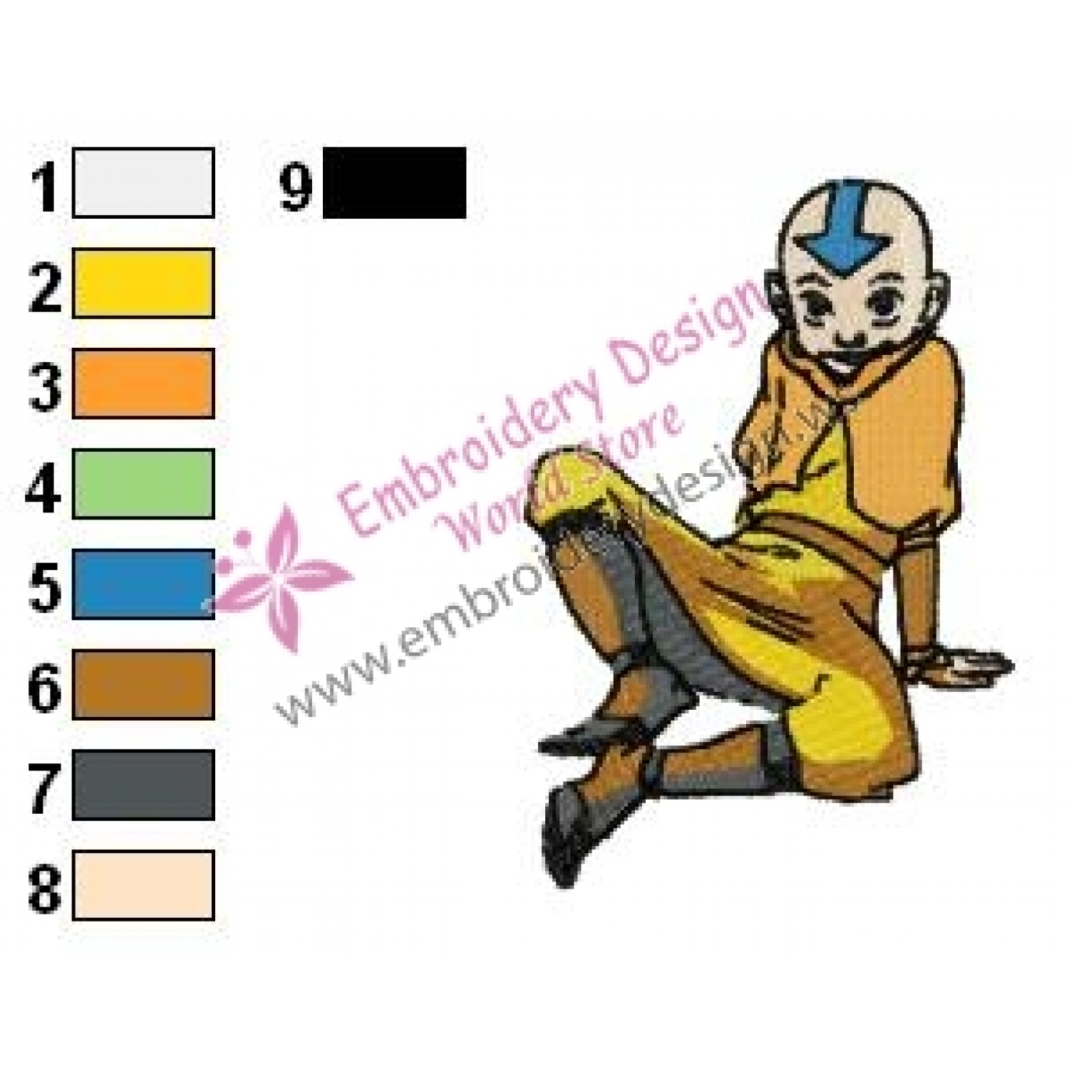 Aang Avatar The Last Airbender Embroidery Design 03