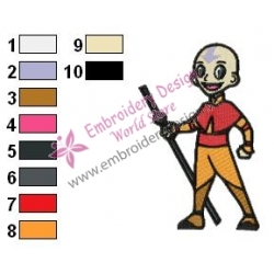 Aang Embroidery Design 04