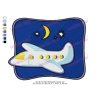Aircraft For Night Embroidery Design