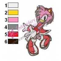 Amy Rose Sonic Embroidery Design 01