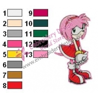 Amy Rose Sonic Embroidery Design 12