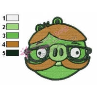 Angry Birds Hipster Pig Embroidery Design