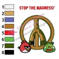 Angry Birds Peace Embroidery Design