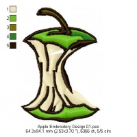 Apple Embroidery Design 01