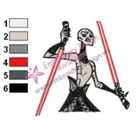 Asajj Ventress Star Wars Embroidery Design
