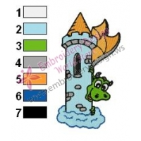 Baby Dragon Hiding Embroidery Design