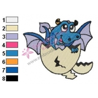 Baby Dragon out of Egg Embroidery Design