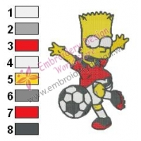Bart Simpson Playing Football Embroidery Design