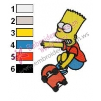 Bart Simpson Playing Wheels Embroidery Design