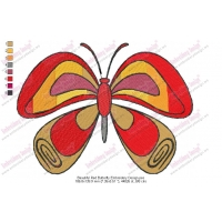 Beautiful Red Butterfly Embroidery Design