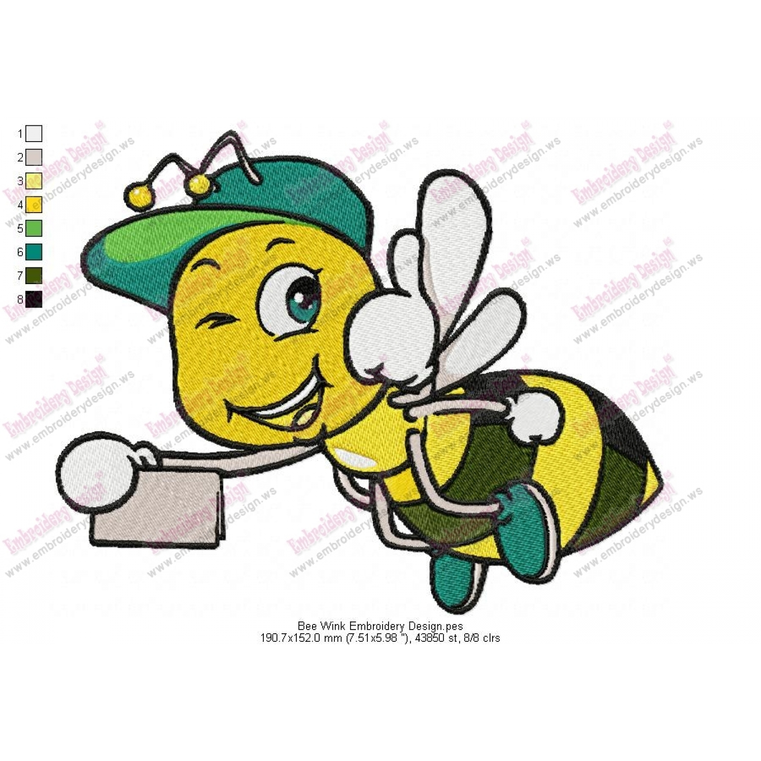 Bumble bee embroidery designs car pictures - Bee Wink Embroidery Design