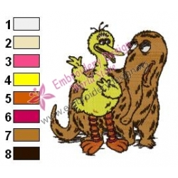 Big Bird and Snuffy Embroidery Design
