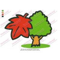 Big Tree with Leaf Embroidery Design 02