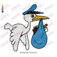 Bird Delivering Mail Embroidery Design