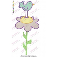 Bird Stand on Flower Embroidery Design