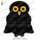Black Halloween Owl Embroidery Design