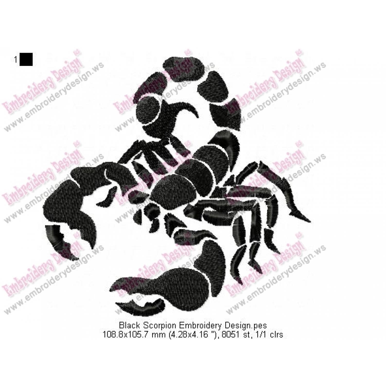 Black Scorpion Embroidery Design
