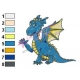 Blue Baby Dragon Embroidery Design