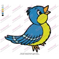 Blue Bird Singing Embroidery Design 02