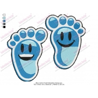 Blue Cartoon Happy Feet Embroidery Design