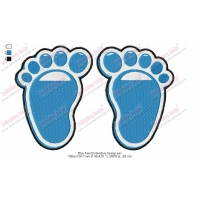 Blue Baby Feet Embroidery Design