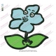 Blue Flower with Eyes Embroidery Design