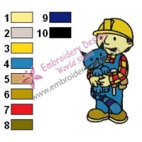 Bob Builder Holding Pilchard Embroidery Design