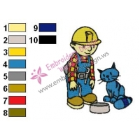 Bob The Builder and Pilchard Embroidery Design 02