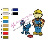 Bob The Builder and Pilchard Embroidery Design