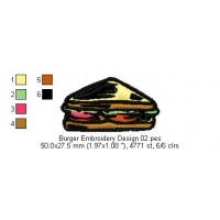 Burger Embroidery Design 02