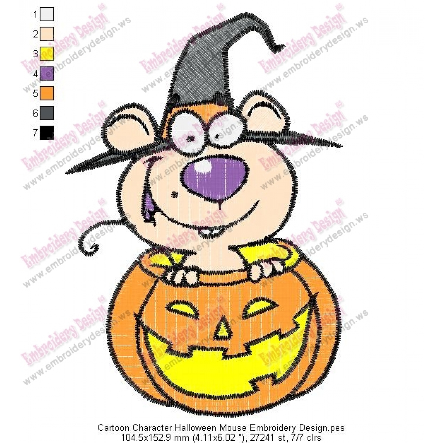 Cartoon Character Halloween Mouse Embroidery Design