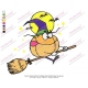 Cartoon Character Pumkin Riding a Broom Embroidery Design