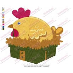 Cartoon Chicken Sitting on Box Embroidery Design