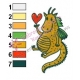 Cartoon Dragon in Love Embroidery Design