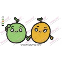 Cartoon Fruit Hold Hands Embroidery Design