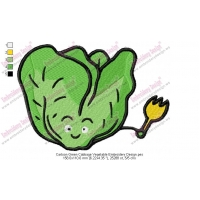 Cartoon Green Cabbage Vegetable Embroidery Design