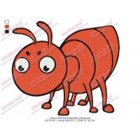 Cartoon Red Ant Embroidery Design