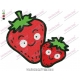 Cartoon Strawberries Fruit Embroidery Design