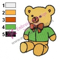 Cartoon Teddy Bear Embroidery Design