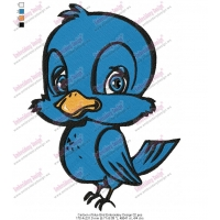 Cartoon of blue Bird Embroidery Design 02
