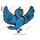 Cartoon of blue Bird Embroidery Design
