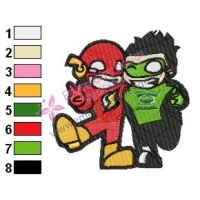 Chibi Flash and Green Lantern Embroidery Design