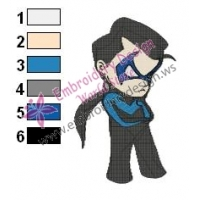 Chibi Robin Nightwing Teen Titans Embroidery Design