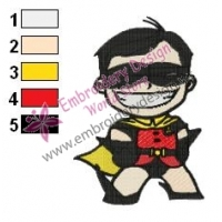 Chibi Robin Teen Titans Embroidery Design