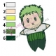 Chibi Zoro One Piece Embroidery Design