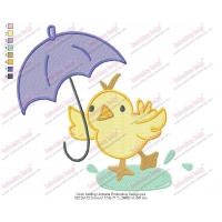 Chick holding Umbrella Embroidery Design