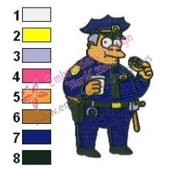 Chief Clancy Wiggum Simpsons Embroidery