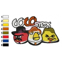Coco Angry Birds Embroidery Design