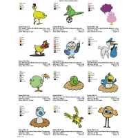 Collection Birds Cartoon Embroidery 01